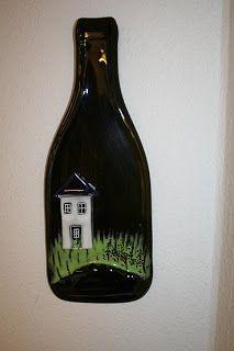 hosfrularsen: Glaskunst Glass Bottle Crafts, Bottle Art, Glass Bottles, Wine Bottles, Fused Glass, Stained Glass, Glass Art, Champagne, Crafty