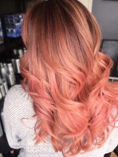 Pretty in Peach peach pink balayage haircolor