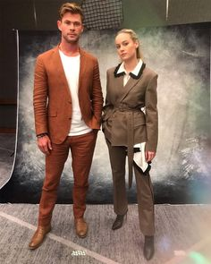 Chris Hemsworth and Brie Larson Suit Up for 'Avengers: Endgame' Press Day