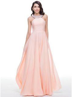 2435600ab6aee6 A-Line Princess Scoop Neck Floor-Length Chiffon Prom Dress With Beading (.  BruidsmeisjesjurkenTule Prom JurkRoze ...