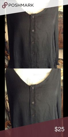 Sheer black 6-button blouse 100% silk blouse, sheer black with 6-buttons in front Kain Tops Blouses