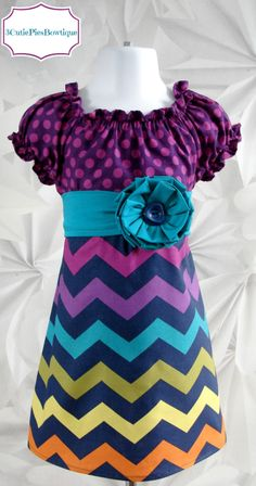 Peasant dress Easter dress Chevron dress by 3cutiepiesbowtique, $45.00