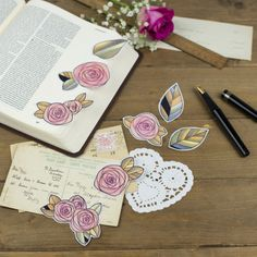 A set of Floral Rose Bible Journaling Stickers from OpenBook Print Shop at Cheerfully Given. This set includes nine different stickers that are perfect for using for Bible Journaling and Faith Journaling or as planner stickers!
