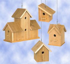 Cedar Birdhouses #3 Wood Project Plan Four great cedar projects for the birds! #diy #woodcraftpatterns