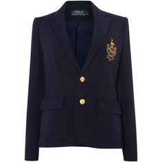 Polo Ralph Lauren Long sleeved crested blazer ($390) ❤ liked on Polyvore featuring outerwear, jackets, blazers, navy, women, blue blazer, blue cotton jacket, navy blazer, polo ralph lauren y long sleeve blazer