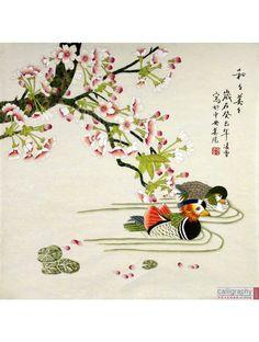 """Chinese Flower  Bird Painting """"Mandarin Ducks Harmony"""""""