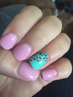 Pink and mint leopard nails