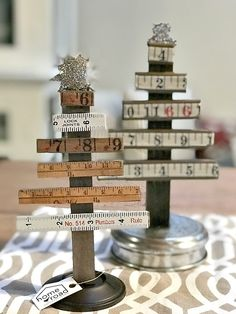 Vintage ruler Christmas trees by Homeroad, featured on Funky Junk Interiors Outdoor Christmas Tree Decorations, Christmas Tree Design, Mini Christmas Tree, Christmas Centerpieces, Christmas Projects, Vintage Christmas, Prim Christmas, Christmas Booth, Xmas Trees