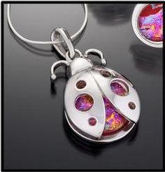 Pink Dirchroic Glass Ladybug Necklace.  $55.00