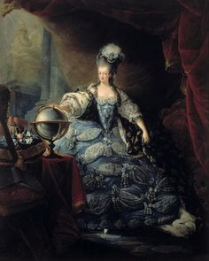 The most obvious example: Marie Antoinette of Austria, queen of France.  This state portrait of Marie in a blue gown has her wearing 'les grands paniers', a fleur de lys mantle, and a high powdered wig.
