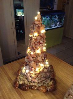 Shell Christmas tree with lights