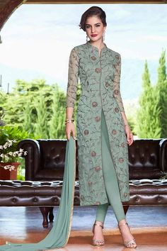 Kurti designs party wear - Buy Dusty Green Net Cigarette Pant Suit With Dori Work Online – Kurti designs party wear Pakistani Dress Design, Pakistani Dresses, Pakistani Fashion Party Wear, Bollywood Fashion, Fashion Pants, Fashion Dresses, Suit Fashion, Indian Designer Suits, Kurta Designs Women