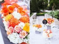 Elegant white, grey, and orange wedding; photos by Adrienne Gunde Photography | junebugweddings.com