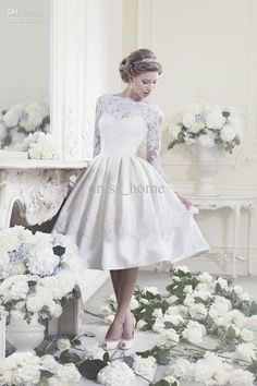 Wholesale a line tea length white satin lace long sleeve garden bridal gowns beach wedding dresses short wedding gowns, Free shipping, $138.88-151.2/Piece | DHgate