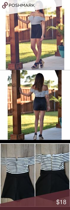 O f f   T h e   S h o u l d e r   R o m p e r A'gaci off the shoulder black & white striped romper. Size S. Worn a few times. In excellent condition. Zipper works. No tears or stains. a'gaci Pants Jumpsuits & Rompers