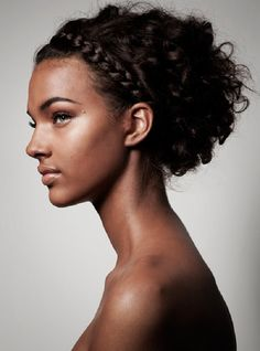 Jessica Strother: pinned curls and a classical braid.