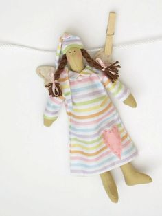 Fabric doll sweet dreams Guardian angel fairy doll in pink striped dress rag doll stuffed doll gift for girl and boy gift for birthday