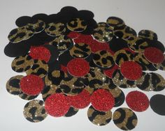 Leopard Print Red Glitter Black Confetti by SignsationalSayings Could use these under glass on a table or in a frame.