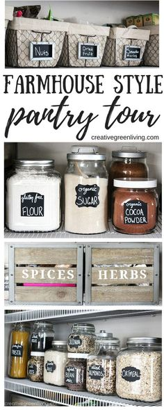 I LOVE this modern farmhouse style pantry makeover with rustic elements. So many great ideas for organization with crates, labels, baskets, glass jars and more. It's definitely got that Fixer Upper style!