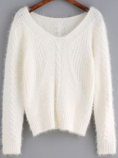 Silence & Casual + White V Neck Shaggy Crop Sweater -  shein.com