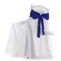 "10 Royal Blue 6 x 108"" Satin Chair Cover Sash Bow Party Banquet Wedding"
