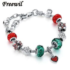 >> Click to Buy <<  Christmas Gift Red/Green Charm Bracelets For Women Crystal Beads DIY Bracelets & Bangles Pulsera SBR160319 #Affiliate