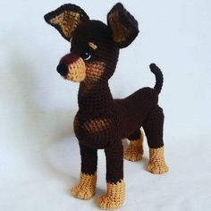 Look at this lovely puppy :-) Very neatly done! Crochet pattern 059 Toy Terrier dog by @littleowlshut Project by @enelen263