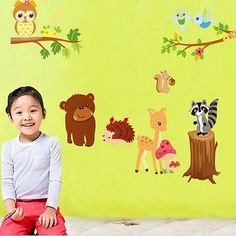Squirrel Bear Deer Hedgehog Removable Vinyl Decal Wall Stickers Kid Home Decor | eBay