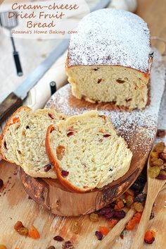 Sweet, soft and brioche-like fluffy bread made with cream cheese and packed with dried fruit