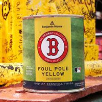 "Red Sox Fenway Paint at Aubuchon Hardware http://www.hardwarestore.com/tags/red-sox-fenway-paint-.aspx?utm_content=bufferde285&utm_medium=social&utm_source=pinterest.com&utm_campaign=buffer ""Foul Pole Yellow"""