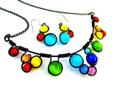 Wire Wrapped Necklace Rainbow Cats Eye Beads by CarrieEastwood