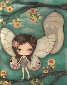 Butterfly Art Painting Cacoon Blossom Girl Wings por thepoppytree, $189.00