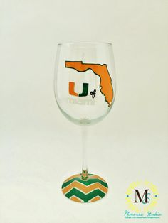 Hey, I found this really awesome Etsy listing at https://www.etsy.com/listing/228098307/hand-painted-university-of-miami-wine