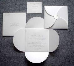 wedding invitations   M2O-04 - 160 sq Petal Wrap Wedding Invitation