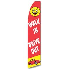 Car Dealer Flag Swooper Half Sleeve Red Yellow Bright Walk In Drive Out #CarLotPromotions
