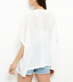 White Pointelle Fine Knit Cardigan | New Look