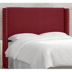 Darby Home Co Alderley Upholstered Wingback Headboard Size: Queen, Upholstery: Linen Laguna