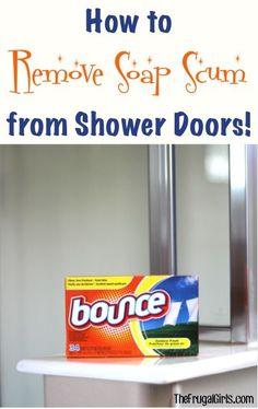 How to Remove Soap Scum from Shower Doors! {Clever Tips} - The Frugal Girls Got soap scum? here's a simple little trick for How to Remove Soap Scum from Shower Doors! Household Cleaning Tips, Deep Cleaning Tips, Toilet Cleaning, Bathroom Cleaning, House Cleaning Tips, Diy Cleaning Products, Cleaning Solutions, Spring Cleaning, Cleaning Hacks