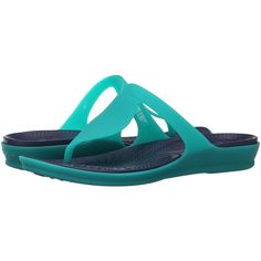 Crocs Rio Flip (Tropical Teal/Nautical Navy) Women's Sandals (39 CAD) ❤ liked on Polyvore featuring shoes, sandals, flip flops, green, slip on sandals, slip on flip flops, crocs sandals, navy shoes and slip-on shoes