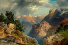 Thomas Moran (born England), 1837–1926. Grand Canyon, dated 1912 Oil on pressboard 15-7/8 × 23-7/8 inches