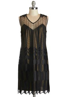 Deco With the Flow Dress. You dont know where the night will take you and this swingy, art deco-inspired dress - which will be available for purchase in October - but youre ready for anything! #black #modcloth