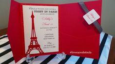 http://loveisindetailsblog.com/2015/05/01/a-night-in-paris/ Custom Handmade A Night in Paris Sweet 16 Invitations, Glitter Eiffel Tower Invites