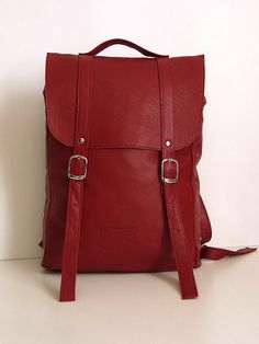 Cherry middle size leather backpack rucksack / To by kokosina