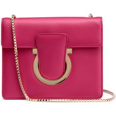 Thalia Fuchsia Leather Gancini Shoulder Bag ($1,105) ❤ liked on Polyvore featuring bags, handbags, shoulder bags, pink, leather shoulder handbags, purple purse, leather shoulder bag, pink purse and leather purses