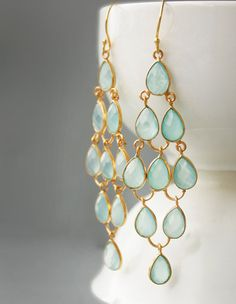 Featured on The Martha Stewart Show - Aqua Chalcedony Chandelier Earrings  Sea Foam Green  Red by OhKuol, $195.00