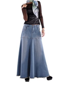 Flowing Love Long Jean Skirt # RE-0525