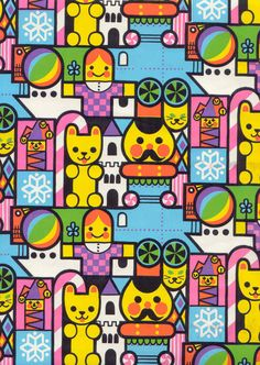 Vintage Christmas Wrapping Paper Colorful Cute And Bright Reminiscent of Its A Small World via Etsy