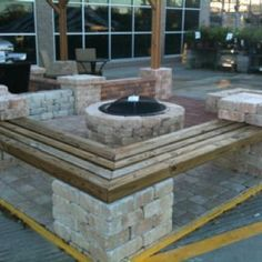 Gives me some ideas for our backyard patio perimeter. DIY benches and fire  pit (Outdoor Wood Patio)