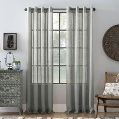 Shop for Archaeo Slub Textured Linen Blend Grommet Top Curtain. Get free delivery On EVERYTHING* Overstock - Your Online Home Decor Outlet Store! Grey Curtains, Window Curtains, Sheer Curtain Panels, Grommet Curtains, Curtain Rods, Curtain Length, Home Decor Outlet, Target, Furniture