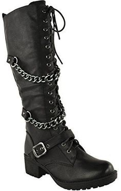 Fashion Thirsty Womens Knee High Mid Calf Lace Up Biker Punk Military Combat Boots Shoes Size 8 -- To view further for this item, visit the image link. (This is an affiliate link) Military Combat Boots, Lace Up Combat Boots, High Heel Boots, Heeled Boots, Laced Boots, Leather Boots, Riding Boots, Women's Motorcycle Boots, Biker Boots